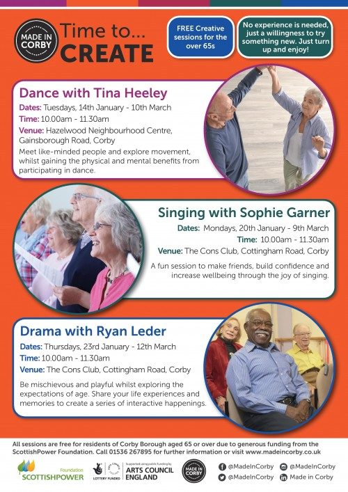 Time to CREATE - free weekly sessions for over 65s